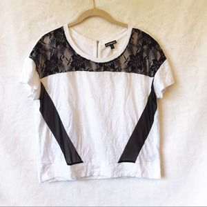 Express Black & White Mixed Fabric Zip Back Top